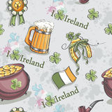 Seamless texture for St. Patrick's Day with a pot of gold Stock Image