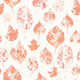 Seamless texture with stamped autumn leaves Royalty Free Stock Images