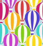 Seamless texture with stickers hot air balloons. Royalty Free Stock Images