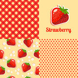 Seamless texture of strawberries. Dots and boxes Stock Photo