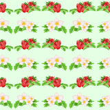 Seamless texture strawberries and flowers vector Royalty Free Stock Image