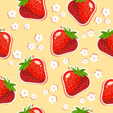 Seamless texture of strawberries. Seamless texture with red strawberries and white flowers Stock Photos