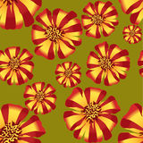 Seamless texture with stripy flower ornament. Seamless pattern with   flowers velvet ribbon on olive green background Royalty Free Stock Photos