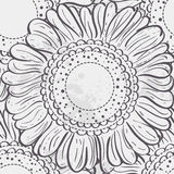 Seamless texture stylized sunflowers.black contour Royalty Free Stock Photography