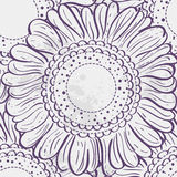 Seamless texture stylized sunflowers. purple contour Royalty Free Stock Photography