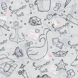 Seamless texture of summer vector hand drawn doodles Stock Photography