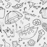 Seamless texture of summer vector hand-drawn doodles. Black cont Stock Photography