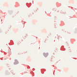 Seamless texture with swallows and hearts. Valentine s day  Pastel spring colors  Silhouettes of birds Stock Photography