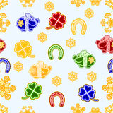 Seamless texture symbols for luck Christmas decorations vector Royalty Free Stock Image