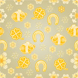 Seamless texture symbols for luck gold background vector Stock Image