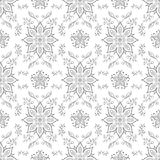 Seamless texture with symmetrical black and white floral ornamen Royalty Free Stock Photos
