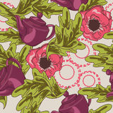 Seamless texture with teapots and flowers Stock Photography