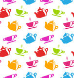 Seamless Texture with Teapots and Teacups Stock Image