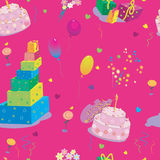 Seamless texture to the birthday on pink Stock Image