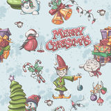 Seamless texture to the Christmas and New Year with snowman, Chr Royalty Free Stock Photo