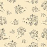 Seamless texture with a tractor 2 Royalty Free Stock Photos
