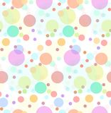 Seamless texture with transparent multi-colored sweets. Large and small colored circles. Vector festive pattern for wrapping paper, for fabric, for background Royalty Free Stock Image
