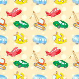 Seamless texture with transport: submarine, car, bus, aircraft a. Nd crane. Vector ilustration for kids Royalty Free Stock Image