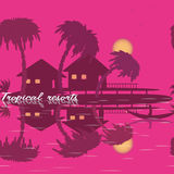 Seamless texture tropical resorts palm tree sea bungalow  boat mountain. Seamless texture tropical resorts palm tree sea bungalow boat mountain. Pink background Stock Photos