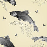 Seamless texture Trout jumps  in stream as wrought metal vintage vector Stock Photos
