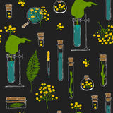 Seamless texture. Tubes and plants on black Royalty Free Stock Images