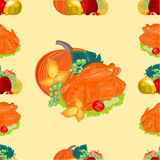 Seamless texture turkey and fruit  thanksgiving day vector Stock Image