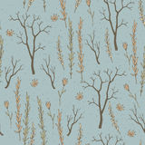 Seamless texture with twigs and flowers Stock Images
