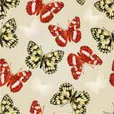 Seamless texture two butterflies silver background vector Stock Images