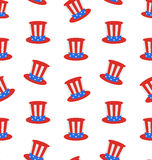 Seamless Texture with Uncle Sams Top Hat for American Holidays Stock Photos