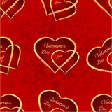 Seamless texture Valentine day two gilded hearts vintage vector. Seamless texture Valentine day two gilded hearts  red background vintage vector illustration Royalty Free Stock Photography