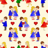 Seamless texture Valentines  Cute  figure Kids and hearts vintage background  vector. Illustration Stock Photos