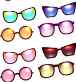 Seamless texture with various sunglasses on a white background. Royalty Free Stock Photos