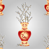 Seamless texture vase with branch pussy willow  vector Stock Images