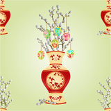 Seamless texture vase with branch pussy willow  vector Stock Image