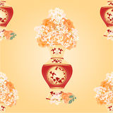 Seamless texture vase with tea roses vector Stock Photo