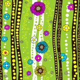 Seamless texture in vector. Bright flowers, stripes and circles on a green background. vector illustration