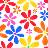 Seamless Texture. Vector illustration of floral seamless. Isolated yellow, lilac, blue, orange flowers on a white background, drawing watercolor Stock Photos