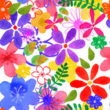 Seamless Texture. Vector illustration of floral seamless. Isolated yellow, pink, purple , lilac, blue flowers and green leaves on a white background, drawing Royalty Free Stock Images