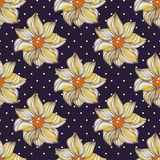 Seamless Texture. Vector illustration of floral seamless. Yellow flowers, hand drawn on the polka dots background royalty free illustration
