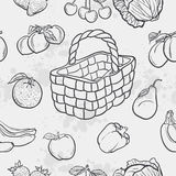 Seamless texture and vegetables, fruit and baskets Royalty Free Stock Photography