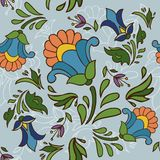 Seamless texture of vintage flowers. On a blue background Royalty Free Stock Photo