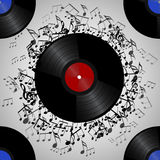 Seamless texture with a vinyl record and music notes Stock Images