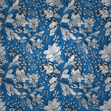 Seamless texture. Seamless wallpaper pattern in vintage style on dark blue background Royalty Free Stock Photos