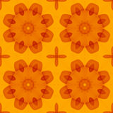Seamless texture with warm orange red stylized flowers. For print on textiles, bed sheets, tablecloths, wrapping paper, wall/floor tiles for kitchen/bathroom/ Stock Photos