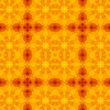 Seamless texture with warm orange yellow red floral cut pattern. For print on textiles, sheets, tablecloths, wrapping paper, wall/floor tiles for kitchen/ Royalty Free Stock Photo