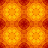 Seamless texture with warm yellow orange red kaleidoscope floral pattern. For print on textiles, sheets, tablecloths, wrapping paper, wall/floor tiles for Royalty Free Stock Photos