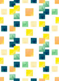 Seamless Texture With Watercolor Deep Blue, Yellow and Green Squares Stock Photos