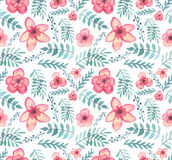 Seamless Texture With Watercolor Exotic Red Flowers, Berries And Green Leaves Stock Photos