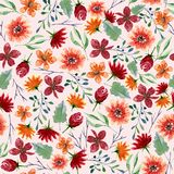 Seamless texture of watercolor flowers. Bright autumn print with floral elements and foliage Stock Photography