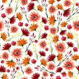 Seamless texture of watercolor flowers. Bright autumn print with floral elements Royalty Free Stock Image